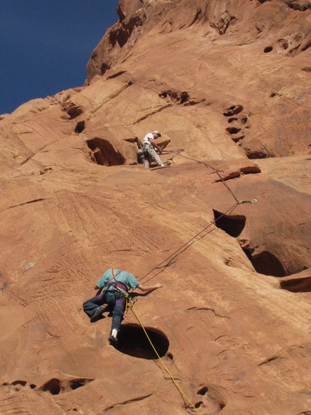 Rock Climbing Photo: Jesse at the crux of the first pitch