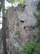 Rock Climbing Photo: View from didtance, just to right of tree line, ro...