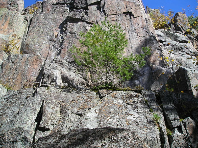 Unclimbed section on left