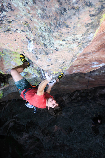 Rock Climbing Photo: Joe Kinder rides the bone.  Photo: Andy Mann.