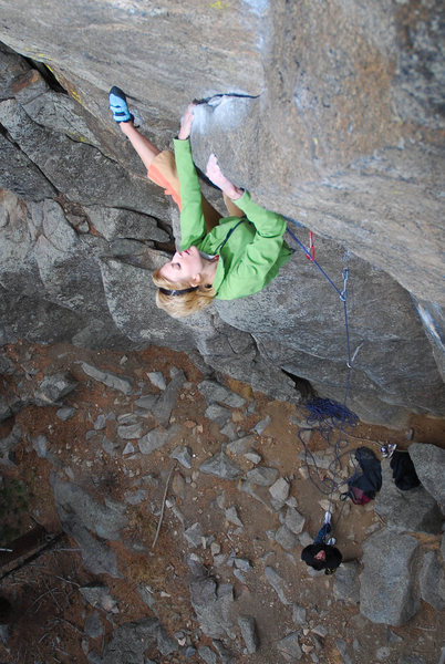 Rock Climbing Photo: Adie Drolet on pitch one. Photo: Andy Mann.