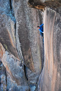 Rock Climbing Photo: Jackie Hueftle on route.  Photo: Andy Mann.