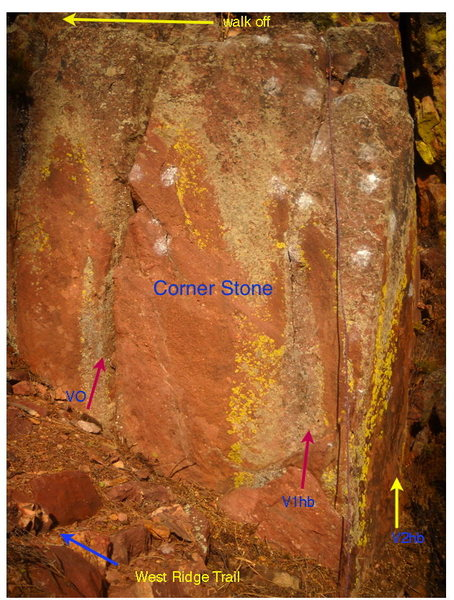 Rock Climbing Photo: Corner Stone is nice, spotter, pad friendly, trail...