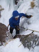 Rock Climbing Photo: Mike starting the last rappel. There are slung blo...