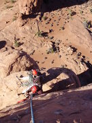 Rock Climbing Photo: Looking down at the belay ledge from the summit.  ...