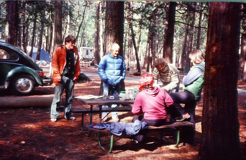Upper Pines campground Yosemite Valley.<br> Scott Jenson, Dave Bell, Buc Taylor,and two girls that taged along from the bar the night before.