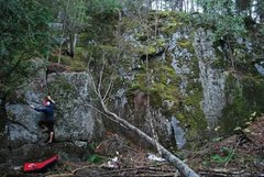 Rock Climbing Photo: Zach cleaning with bigger wall to his right. Lots ...