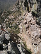 Rock Climbing Photo: This is the gully leading west from the saddle bel...