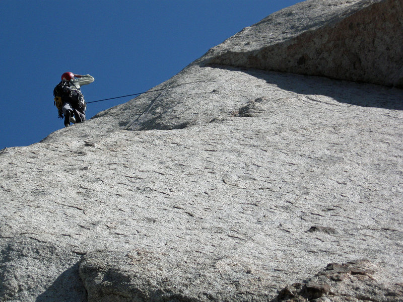 Wondering where the route goes after the supposed crux (I found a later bit harder). <em>[[105741425]]</em>. April, 2010.<br> <br> Photo by Marc Jensen.