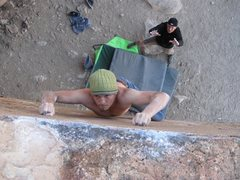 Rock Climbing Photo: Just before making the last move.