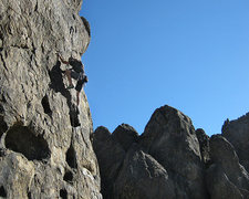 "Rock Climbing Photo: E on ""Gun for Hire"". Photo by Blitzo."