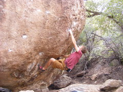 Rock Climbing Photo: Joe Kreidel sticking the deadpoint on Evolution.
