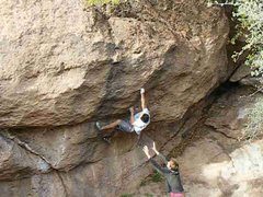 Rock Climbing Photo: Me making the move to the crimp.