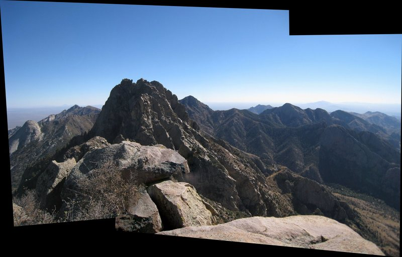 Panoramic view looking south from the summit.