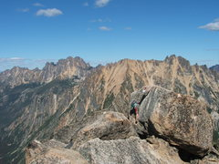 Rock Climbing Photo: Zach on summit block with Silver Star and Wine spi...
