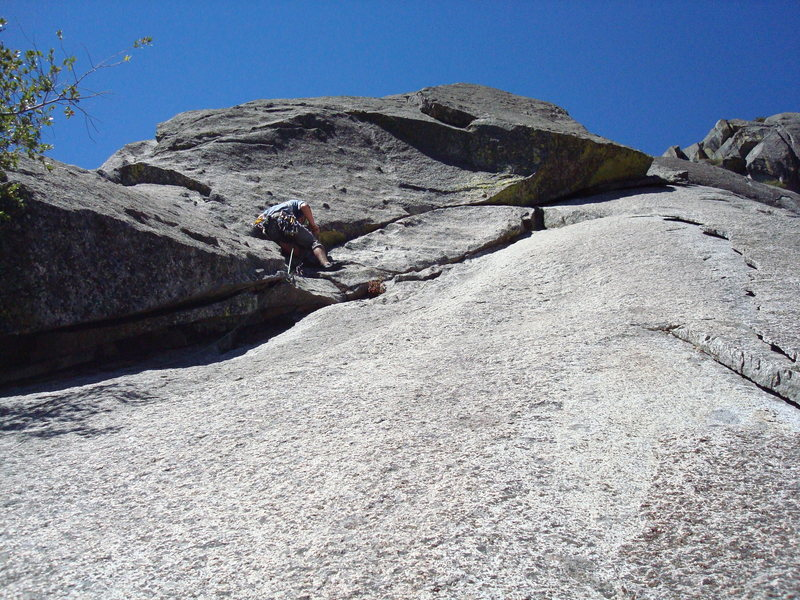 Making our own way on a dihedral on the south face of moro rock