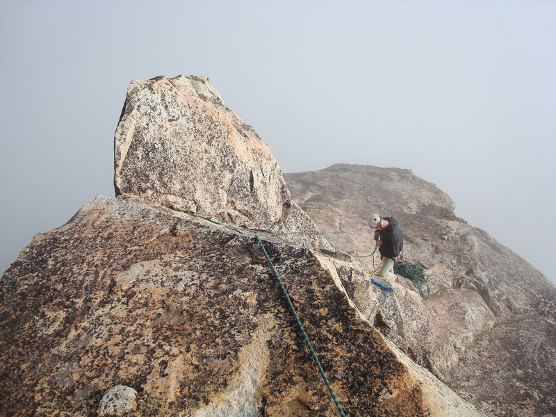 Rock Climbing Photo: The last really short pitch to the top of chimney ...