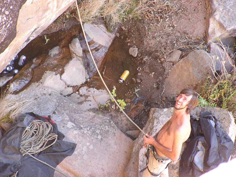 Rock Climbing Photo: Black & Tan Wall belay with a creek running throug...