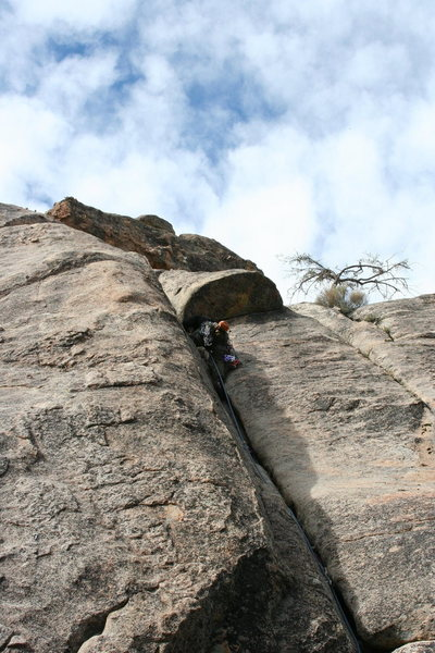 Me leading a 5.7 crack on Motherload Wall.