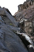 Rock Climbing Photo: Looking up at a 90ft crack in Icebox Canyon. Note:...