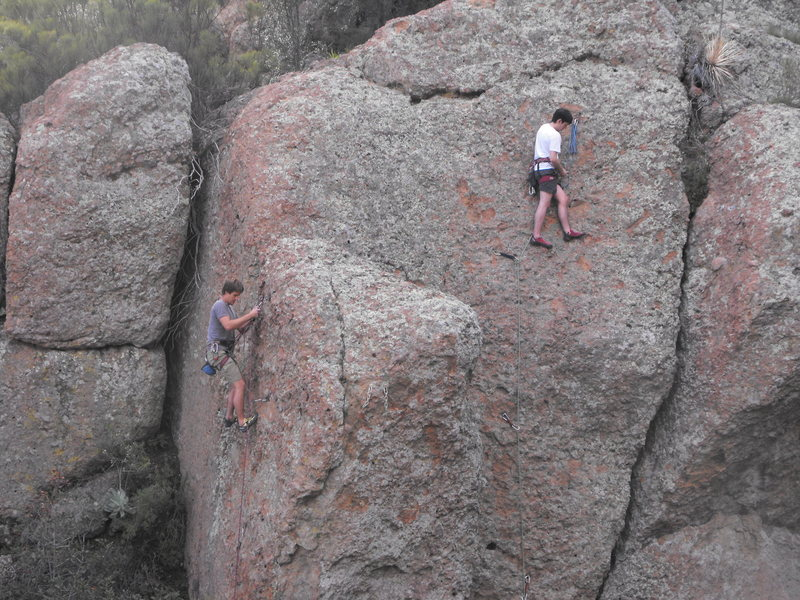 Rock Climbing Photo: Busy day in the Grotto. Climber on the left, on &q...