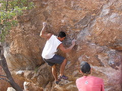 Rock Climbing Photo: Me on DJ Goes to Hueco (V3).  With Squish spotting...