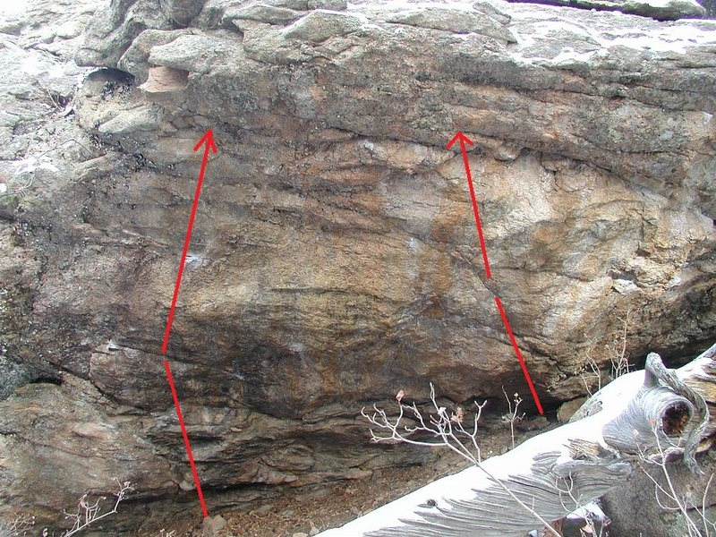 Rock Climbing Photo: Deadly Catch on left. Open proj on right. Have fun...