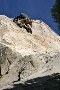 Rock Climbing Photo: Will moving along the arete on Palm Pilot, 5.10b