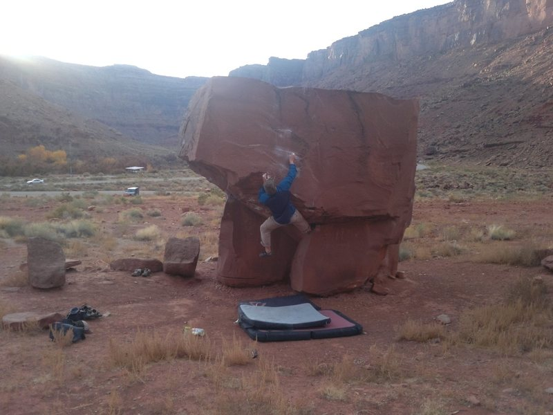 Rock Climbing Photo: V5 at block top