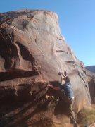 Rock Climbing Photo: High foot reach for crimps