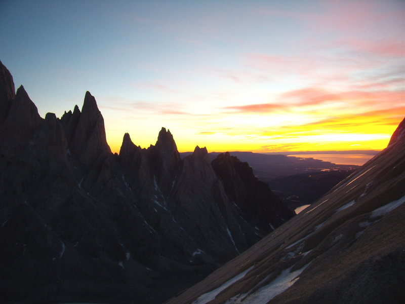 Rock Climbing Photo: Early morning sunrise on Cerro Standhart Patagonia...