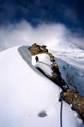 Rock Climbing Photo: Mike on an attempt of the Ice Arete on Mt. Resplen...