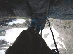 Rock Climbing Photo: My Feet at the top of the Casual Route - Diamond.