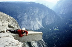 Rock Climbing Photo: Jenna on top of Half Dome.  2000