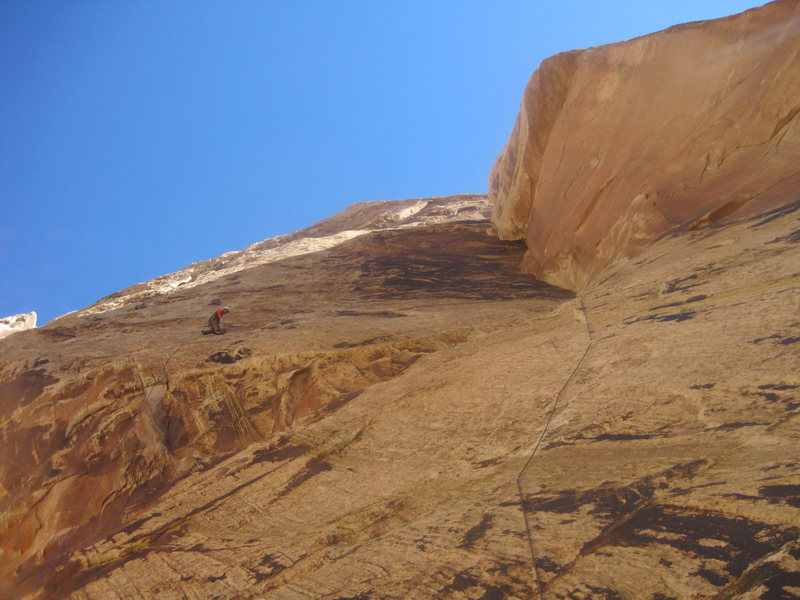 Rock Climbing Photo: Lance at the belay of P1