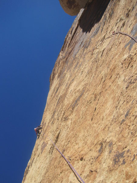 Rock Climbing Photo: Lance at the last bolt before the move into the sh...