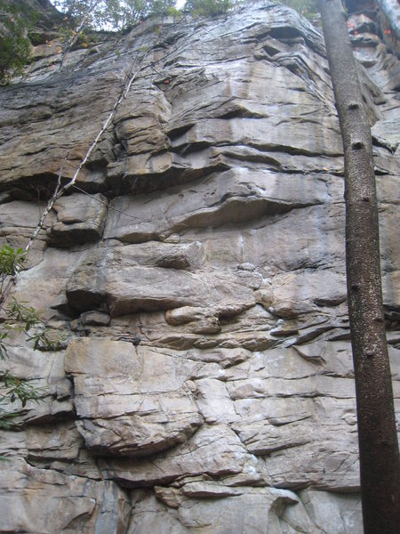 Poor photo of a great route.  Note the upper bit is wet in this pic, fortunately its all jugs up there.