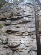 Rock Climbing Photo: Poor photo of a great route.  Note the upper bit i...