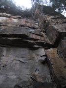 Rock Climbing Photo: TtheT climbs the tiger-striped face immediately le...