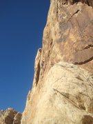 Rock Climbing Photo: Moving up towards the long ledge.