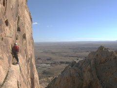 Rock Climbing Photo: Paul arriving at the long ledge P3. Photo Lance Ba...