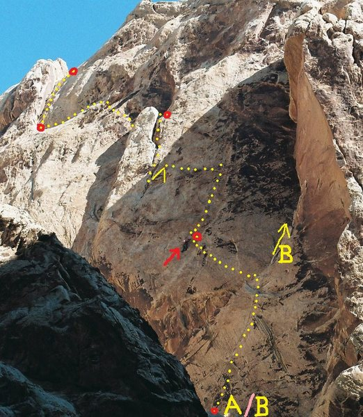 The Route. A/B the start of both Heliotropism 5.12a and The Black Helicopter 5.11+ B) P2 of The Black Helicopter.