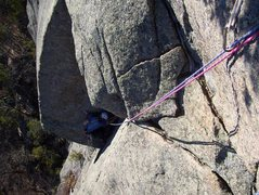 Rock Climbing Photo: looking down from the top of pitch 3 onto the seco...