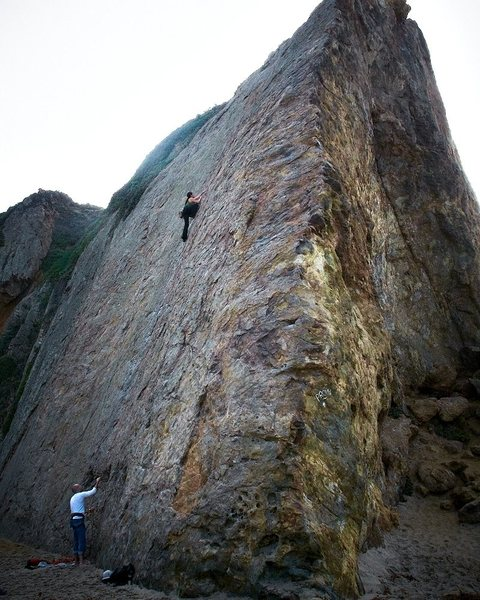 Des climbs the center of the West face