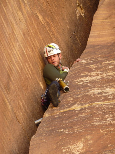 Chrysler Crack lead<br> Photo by Ujahn Davisson<br> Excellent belay by Bill Coe