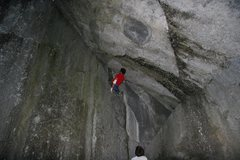 Rock Climbing Photo: As always, staying in place is easy (sort of) but ...
