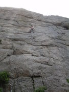 Rock Climbing Photo: Entering the crux traverse.