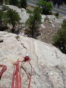 Rock Climbing Photo: Entering the 2nd pitch crux.