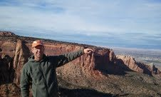 From the summit of Independence, pointing to Sentinel Spire at Colorado National Monument