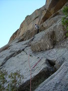 Rock Climbing Photo: Nearing the 1st pitch mantle